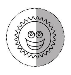 contour sticker happy sun icon vector image vector image
