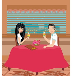 couple drinking a cocktail at the restaurant vector image vector image