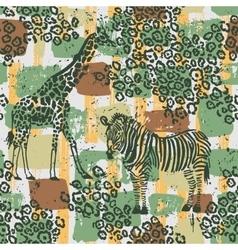 Hand drawn seamless pattern with zebra giraffe vector image vector image