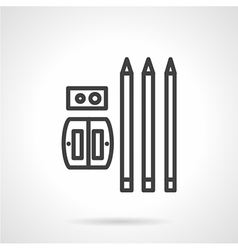 Pencils and sharpener simple line icon vector image vector image