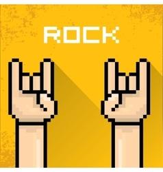pixel art hand sign rock n roll music vector image