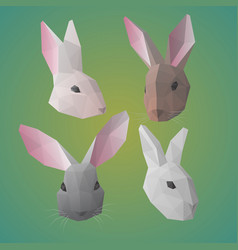 polygonal rabbit or hare heads collection vector image vector image