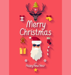 Red christmas poster vector image vector image