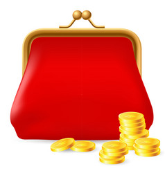 Red purse with coins on white background for vector