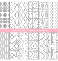Set of graphic line seamless patterns monochrome vector image