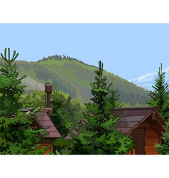 Wooden houses in the firs mountains vector