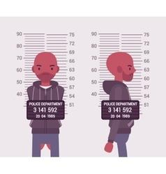 Mugshot of a young black man vector