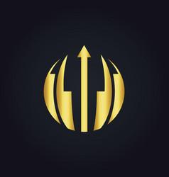 round abstract arrow gold logo vector image vector image