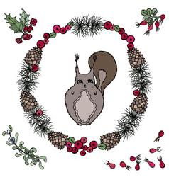 cute cartoon squirrel in floral wreath with vector image