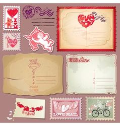 Set of vintage postcards and post stamps for Valen vector image vector image