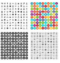 100 headhunter icons set variant vector