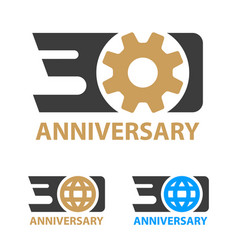 30 years anniversary industry gear globe number vector image