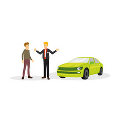 a car sales with the customer on the negotiation vector image