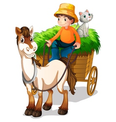 A farmer riding a cart with a cat at the back vector