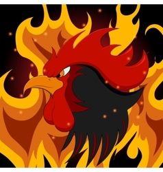A fiery rooster on New year vector