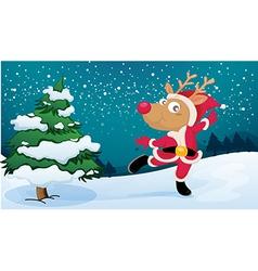 A playful reindeer wearing Santas outfit vector image