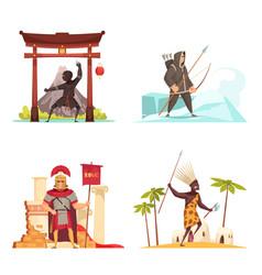 Ancient warriors concept icons set vector