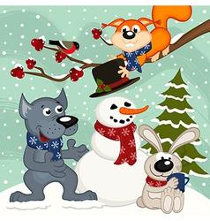 Animals make snowman vector