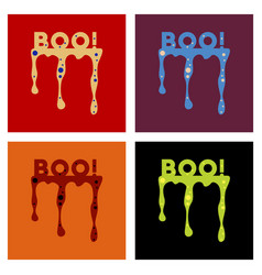 Assembly flat icons halloween blood boo vector