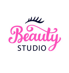 Beauty salon cosmetic logo with lettering vector