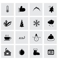 black winter icon set vector image