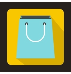 Blue paper shopping bag icon flat style vector image