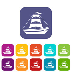 Boat with sails icons set vector