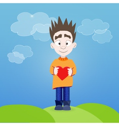 Boy with heart in his hands outdoor vector image