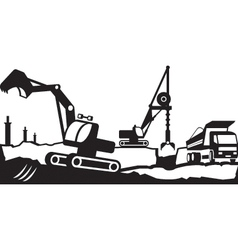 Building excavation and transport equipment vector image