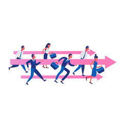 Business people group running team leader arrow vector