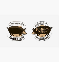 butcher shop butcher logo pig pork label vector image