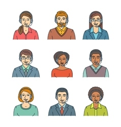 Call center agents flat line avatars vector image