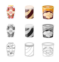 Can and food sign set of vector