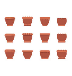 Capacious flower pots of clay and plastic set vector