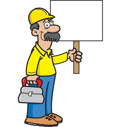 Cartoon Construction Worker with a Sign vector image