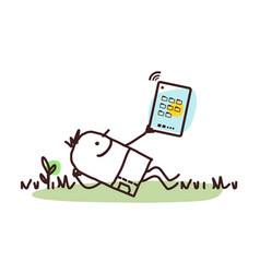 Cartoon man relaxing with his tablet vector
