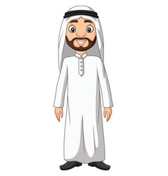 cartoon saudi arab man in white clothes vector image