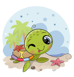 cartoon water turtle on beach vector image
