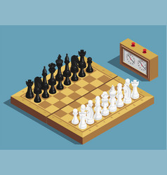 Chess beginning isometric composition vector