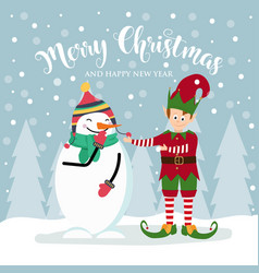 christmas card with cute elf and snowman vector image