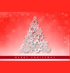 christmas greeting with paper snowflakes vector image