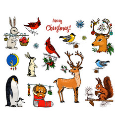 christmas horned deer squirrel and animals new vector image