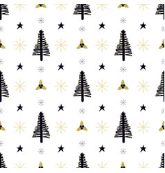 christmas pattern with tree and holly vector image