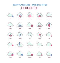 cloud seo icon dusky flat color - vintage 25 icon vector image