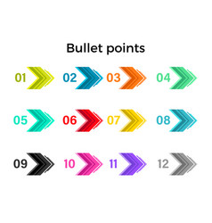 colorful bullet points arrows vector image