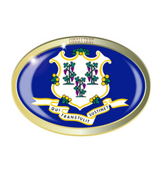 Connecticut state flag oval button vector