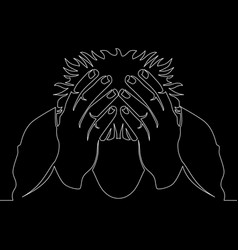 continuous line drawing man in despair concept vector image
