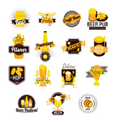 Craft beer hand drawn logos vector