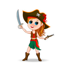 Cute girl pirate vector