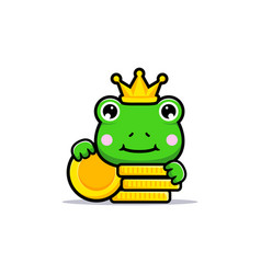 Design cute frog king with gold coins vector